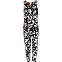 Girls black aztec print jumpsuit