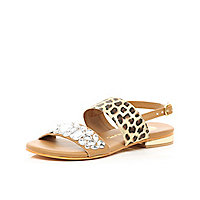 Girls beige leopard embellished sandals