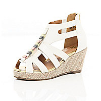 Girls white strappy open toe wedges