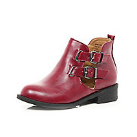 Girls red double buckle boots