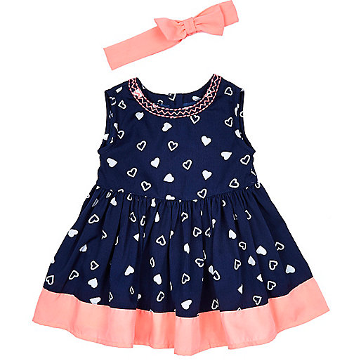 Mini girls navy heart print dress