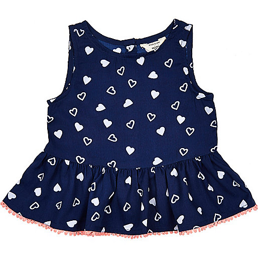 Mini girls navy heart print peplum top