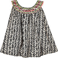 Mini girls mono aztec trapeze top