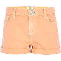 Girls orange denim shorts
