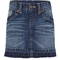 Girls mid wash denim skirt