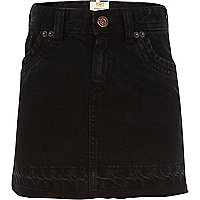 Girls black denim skirt
