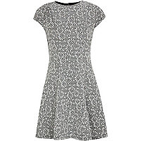 Girls black jacquard fit and flare dress