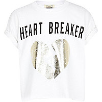 Girls white heart breaker crop t-shirt