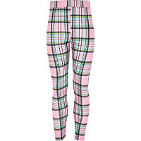 Girls pink and black check leggings