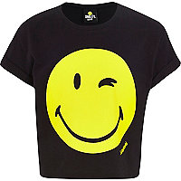 Girls black smiley print crop t-shirt