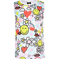 Girls white doodle smiley print tank t-shirt