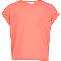 Girls bright pink rolled sleeve t-shirt