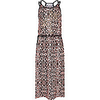 Girls leopard print maxi dress