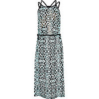 Girls blue leopard print maxi dress