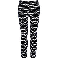 Girls blue print trousers