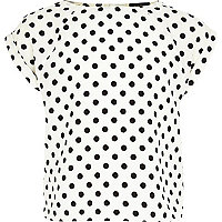 Girls cream polka dot print box top