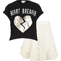 Girls black heart breaker and white tutu set