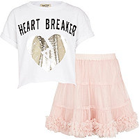 Girls white heart breaker and pink tutu set