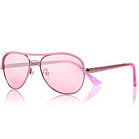 Girls pink aviator mirror sunglasses