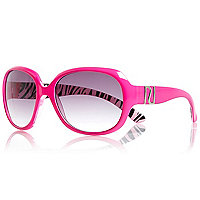 Girls pink oversized zebra print sunglasses