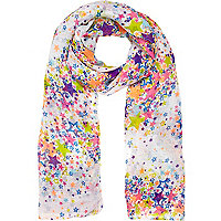 Girls white star print scarf