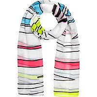 Girls white stripe scarf
