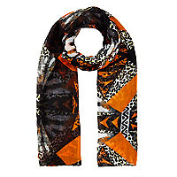 Girls orange leopard print scarf