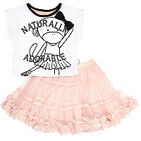 Mini girls white top and pink tutu set