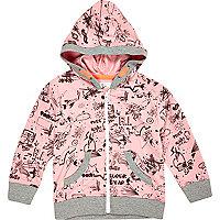 Mini girls pink doodle hoody