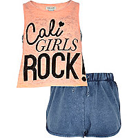 Girls orange Cali Girl top and shorts set