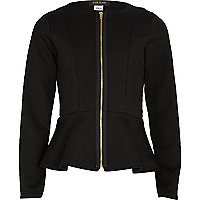 Girls black peplum blazer