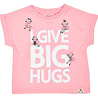 Mini girls pink big hugs print t-shirt
