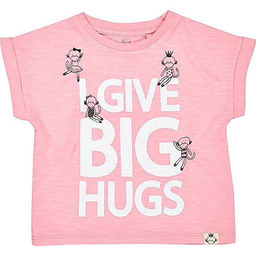 Mini girls pink big hugs print t-shirt