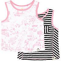 Mini girls doodle and stripe vest 2 pack