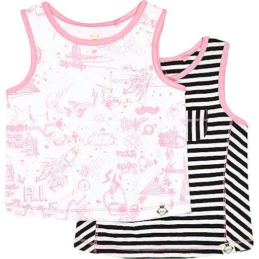 Mini girls doodle and stripe tank 2 pack