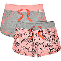 Mini girls pink and doodle jersey short set