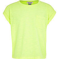 Girls yellow rolled sleeve t-shirt