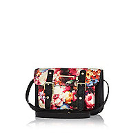 Girls black floral print satchel bag