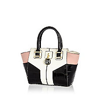 Girls pink colour block tote bag