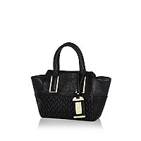 Girls black quilted tote bag
