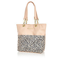 Girls pink leopard print shopper bag