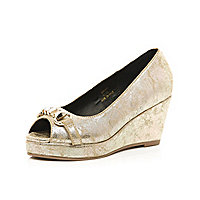 Girls gold metallic wedge shoes