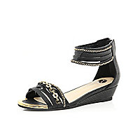 Girls black chain wedge sandals