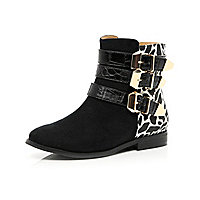 Girls black leopard print buckle ankle boots