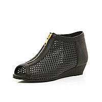Girls black laser cut out wedges