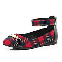 Girls red check ballerina shoes