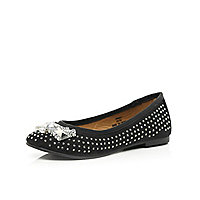 Girls black embellished ballerina shoe