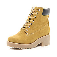 Girls tan lace up boots