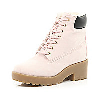 Girls pink lace up boot