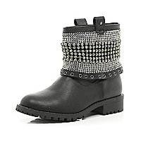 Girls black studded boots